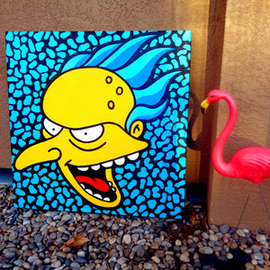 Trippy Simpsons pop art painting featuring C. Montgomery Burns inspired by Lisa Frank & Andy Warhol. Photo taken outside with a pink plastic lawn flamingo in Albuquerque, New Mexico Marie Nolan folk outsider art vaporwave pop