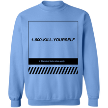 Load image into Gallery viewer, 1-800-Kill-Yourself Crewneck Sweatshirt by palm-treat.myshopify.com for sale online now - the latest Vaporwave & Soft Grunge Clothing