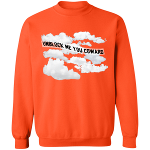 Unblock Me You Coward Crewneck Sweatshirt by palm-treat.myshopify.com for sale online now - the latest Vaporwave & Soft Grunge Clothing
