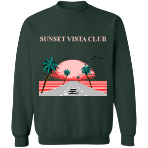Sunset Vista Club by 8-Bit Stories Crewneck Sweatshirt by palm-treat.myshopify.com for sale online now - the latest Vaporwave & Soft Grunge Clothing