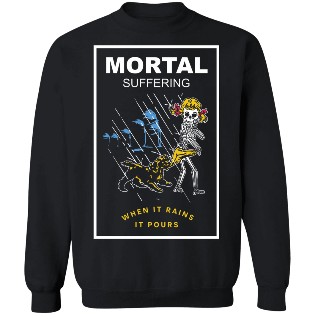 Mortal Suffering Crewneck Sweatshirt by palm-treat.myshopify.com for sale online now - the latest Vaporwave & Soft Grunge Clothing