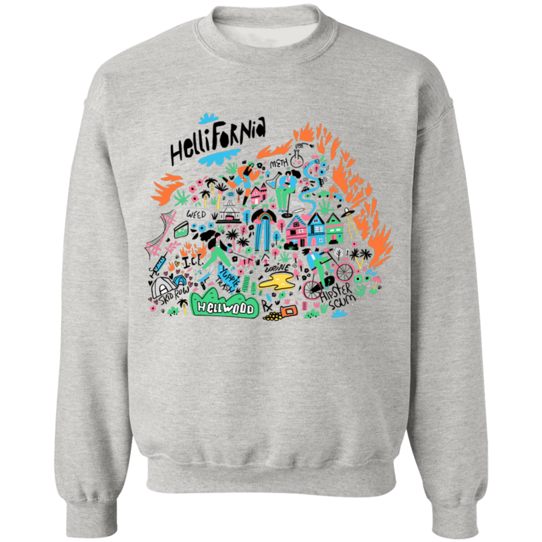 Hellifornia Crewneck Sweatshirt by palm-treat.myshopify.com for sale online now - the latest Vaporwave & Soft Grunge Clothing