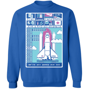We're All Gonna Die LOL Crewneck Sweatshirt by palm-treat.myshopify.com for sale online now - the latest Vaporwave & Soft Grunge Clothing
