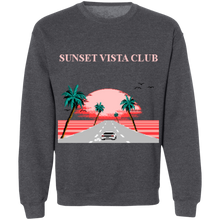 Load image into Gallery viewer, Sunset Vista Club by 8-Bit Stories Crewneck Sweatshirt by palm-treat.myshopify.com for sale online now - the latest Vaporwave & Soft Grunge Clothing