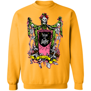 To Live is to Suffer Crewneck Sweatshirt by palm-treat.myshopify.com for sale online now - the latest Vaporwave & Soft Grunge Clothing