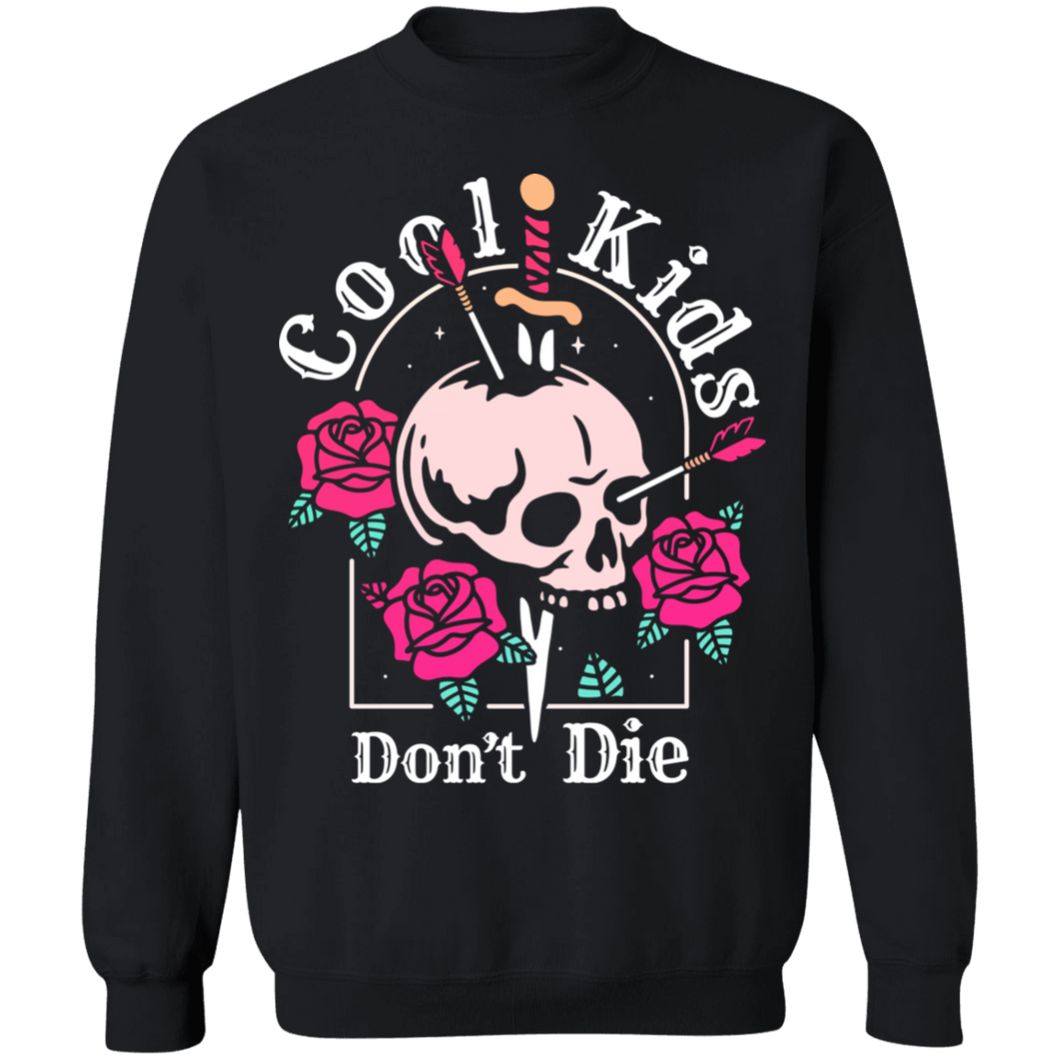 Cool Kids Don't Die Crewneck Sweatshirt by palm-treat.myshopify.com for sale online now - the latest Vaporwave & Soft Grunge Clothing