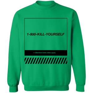1-800-Kill-Yourself Crewneck Sweatshirt by palm-treat.myshopify.com for sale online now - the latest Vaporwave & Soft Grunge Clothing