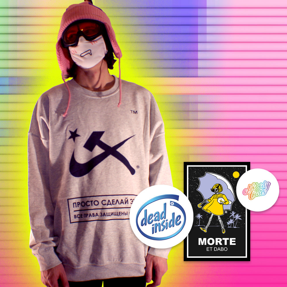 Aesthetic Hammer & Sickle Crewneck Sweatshirt - 3XL by palm-treat.myshopify.com for sale online now - the latest Vaporwave & Soft Grunge Clothing