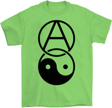 Load image into Gallery viewer, anarchy yin yang shirt by palm treat in green