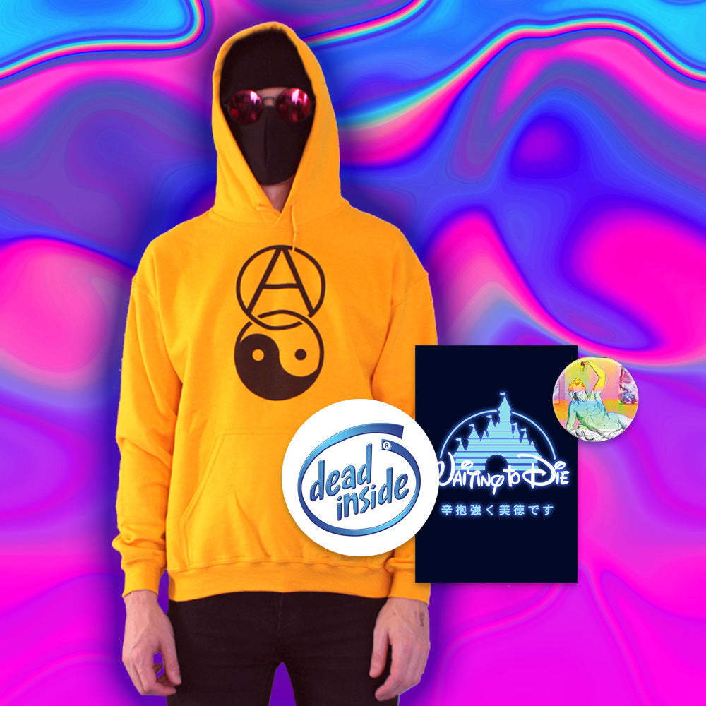 Anarchy Yin Yang Hoodie - Medium by palm-treat.myshopify.com for sale online now - the latest Vaporwave & Soft Grunge Clothing