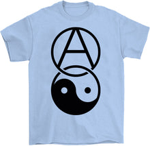 Load image into Gallery viewer, anarchy yin yang shirt by palm treat in blue
