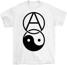 Load image into Gallery viewer, anarchy yin yang shirt by palm treat in white
