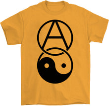 Load image into Gallery viewer, anarchy yin yang shirt by palm treat in yello