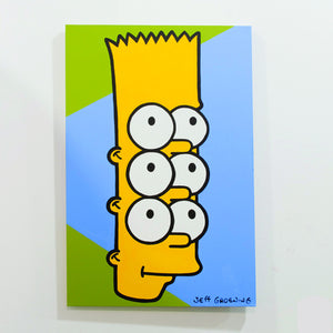 Bart vs the World with six eyes on a blue and green panel as photographed in the art and design studio North End Studios or NES in Detroit, MI. Acrylic psychedelic artwork Marie Nolan Art