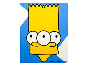 90's retro pop art painting of Bart Simpson by Jeff Nolan & Marie Nolan of Palm Treat. Outsider art piece, large painting on canvas. Marie Nolan folk art pop art outsider art