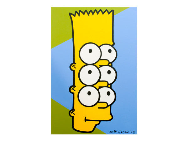 Trippy hallucinogenic Bart Simpson with extra eyes seeing triple pop art painting inspired by the artwork of Andy Warhol. Painted by the real Jeff Nolan and Marie Nolan of Palm Treat.