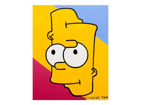 Trippy Bart Simpson art pop art painting with two mouths, smiling. Red, Yellow, and Blue cartoon artwork Marie Nolan folk art outsider art vaporwave art