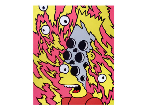 Amazing pop art painting for sale of Bart Simpson melting by Jeff & Marie Nolan of Palm Treat. Marie Nolan folk art outsider art pop art