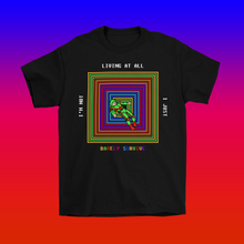 Load image into Gallery viewer, Barely Surviving 8-Bit Atari Nostalgia T-Shirt by Palm Treat and Jeff Nolan & Marie Nolan