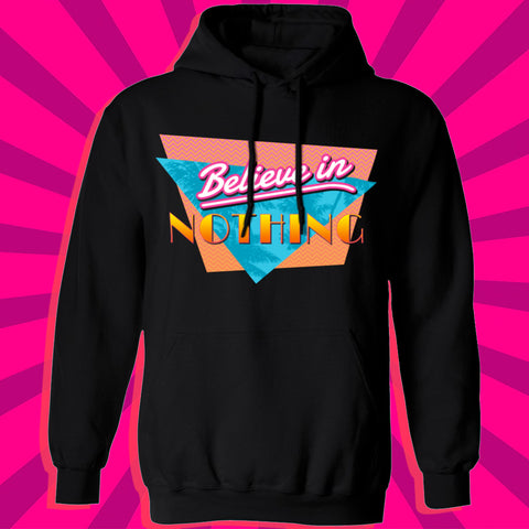 Believe in nothing nihilism palm tree tropical paradise glitch vice city grand theft auto hoodie by Palm Treat artists Jeff Nolan & Marie Nolan