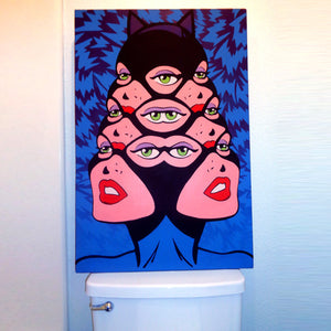 Trippy drug art for sale of classic comic book Catwoman of the DC Batman series painted by Jeff Nolan & Marie Nolan of Palm Treat as photographed on a pop art toilet Marie Nolan outsider folk artist