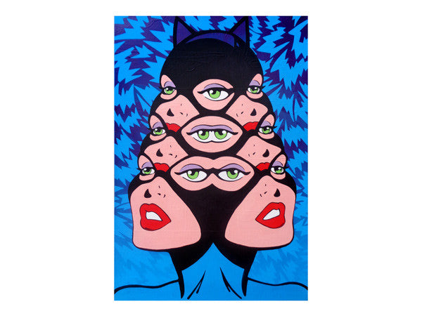 Amazing DC comic book artwork of a pin up style Catwoman of Batman with extra eyes. Trippy bat pattern background by Palm Treat Marie Nolan folk art pop art vaporwave