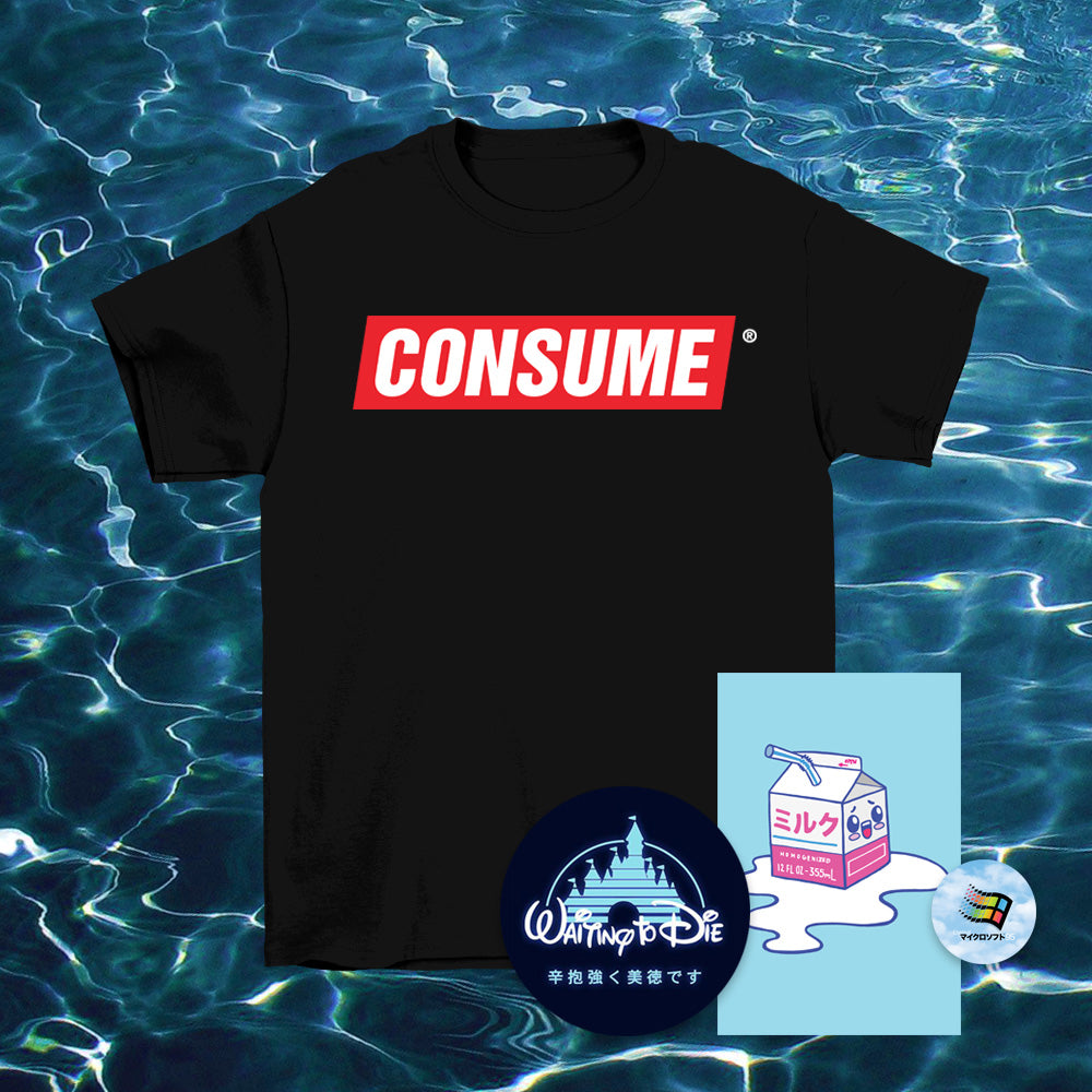 Consume Black T-Shirt - Large by palm-treat.myshopify.com for sale online now - the latest Vaporwave & Soft Grunge Clothing
