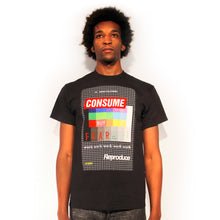 Load image into Gallery viewer, Consume fear late stage capitalism supreme skater They Live t-shirt design by Palm Treat designers Jeff Nolan & Marie Nolan