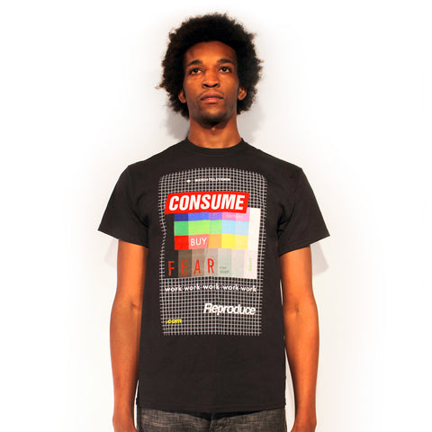 Consume fear late stage capitalism supreme skater They Live t-shirt design by Palm Treat designers Jeff Nolan & Marie Nolan