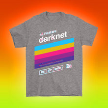 Load image into Gallery viewer, darknet internet deep web retro futurism japanese t-shirt design by palm treat designers jeff nolan and marie nolan