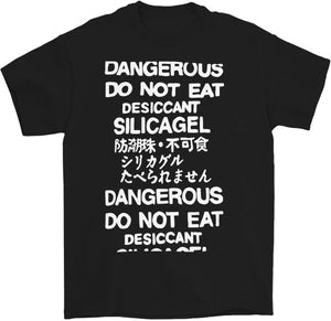 do not eat desiccant silica gel dangerous t-shirt in black by palm treat