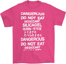 Load image into Gallery viewer, do not eat desiccant silica gel dangerous t-shirt in pink by palm treat