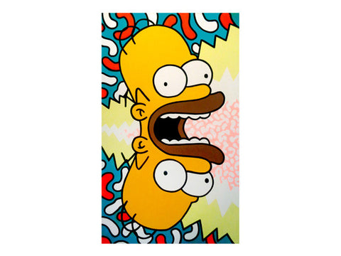 Double vision trippy Simpsons Marie Nolan Artist Detroit Folk Art Tapped Out Homer Simpson pop art painting for sale by Detroit artists Jeff Nolan & Marie Nolan of the low brow art Palm Treat.