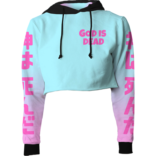 God is Dead Crop Top Hoodie