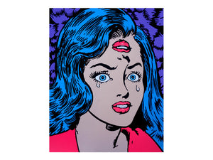 Incredible pop art girl crying Marie Nolan Artpainting by Palm Treat. Hot pink lips with aqua mermaid vaporwave pastel blue hair painted by pop artists Palm Treat.