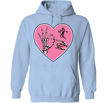 Load image into Gallery viewer, ok sign skeleton hands goth kawaii hoodie in blue by palm treat