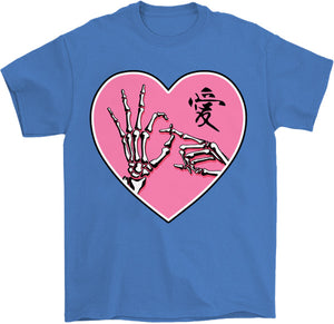 ok sign skeleton hands goth kawaii t-shirt in iris by palm treat