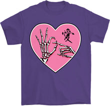 Load image into Gallery viewer, ok sign skeleton hands goth kawaii t-shirt in purple by palm treat