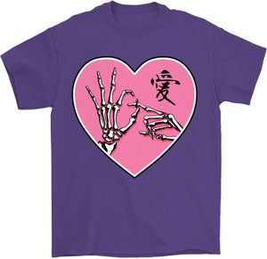 ok sign skeleton hands goth kawaii t-shirt in purple by palm treat