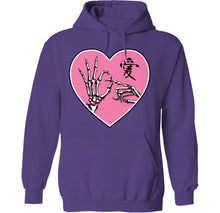 Load image into Gallery viewer, ok sign skeleton hands goth kawaii hoodie purple by palm treat
