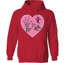 Load image into Gallery viewer, ok sign skeleton hands goth kawaii hoodie in red by palm treat