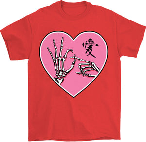 ok sign skeleton hands goth kawaii t-shirt in red by palm treat