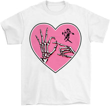 Load image into Gallery viewer, ok sign skeleton hands goth kawaii t-shirt in white by palm treat