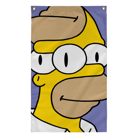 Homer with Three Eyes Trippy Simpsons pop art flag