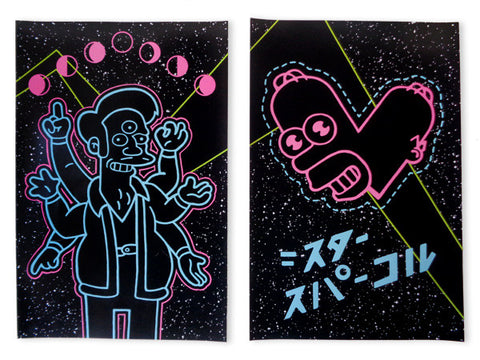 Homer Simpson and Apu Cheap Black Light Posters for Sale with neon colors in Space. Artwork by Marie Nolan & Jeff Nolan, painters.