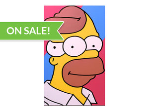 Homer Simpson painting for sale by low brow painters Jeff Nolan & Marie Nolan folk artist vaporwave of Palm Treat.