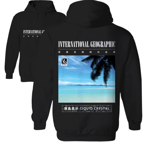 International Geographic Liquid Crystal Tropical Beach Palm Tree hoodie by Palm Treat