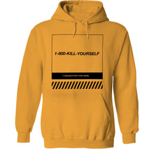Load image into Gallery viewer, 1-800-kill yourself nihilist suicide hoodie by palm treat