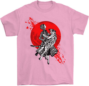 Pink girly T-shirt tiger glitter Japanese woman cool tattoo scroll art