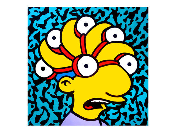 Trippy Milhouse Simpsons artwork by Palm Treat. Freaking out mezzotint technicolor amazing pop art painting for sale. Painted by Jeff Nolan & Marie Williams Marie Nolan outsider folk art pop vaporwave artist